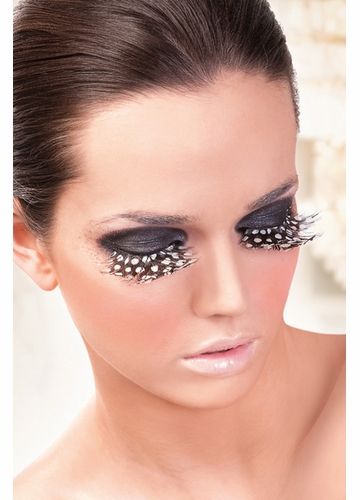 Brown Feather Lashes with Dots