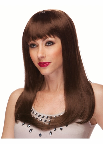 Brown Long Straight Wig with Bangs Classy