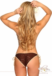 Brown Sequin Pucker Back Bikini