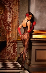 Butterfly Lace Bodystocking with Ruffle Trim