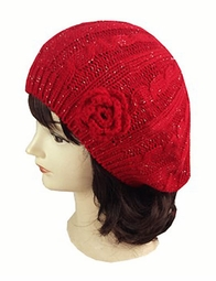 Cable Knit Beret Hat with Flower Accent
