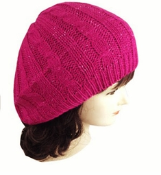 Cable Knit Lurex Baret Hat