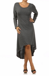 Charcoal  Plus Size Long Sleeve Knit Dress with Scoopback Neckline