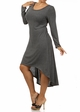 Charcoal  Plus Size Long Sleeve Knit Dress with Scoopback Neckline inset 1
