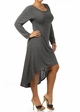 Charcoal  Plus Size Long Sleeve Knit Dress with Scoopback Neckline inset 2