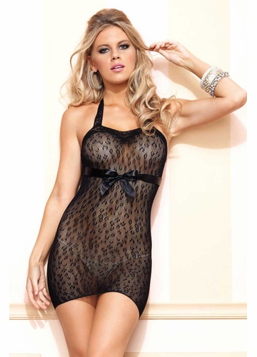 Cheetah Net Halter Mini Dress