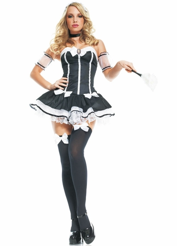 Chic French Maid Costumes with Lacey Arm Bands