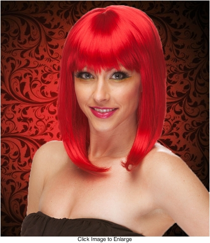 Chic Tapered Wig with Full Bangs in Dark Red