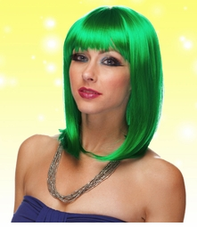Chic Tapered Wig with Full Bangs in Green