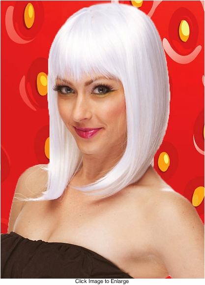 Chic Tapered Wig with Full Bangs in Snow White