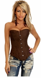 Chocolate Faux Suede Corset with Lace-Up Back