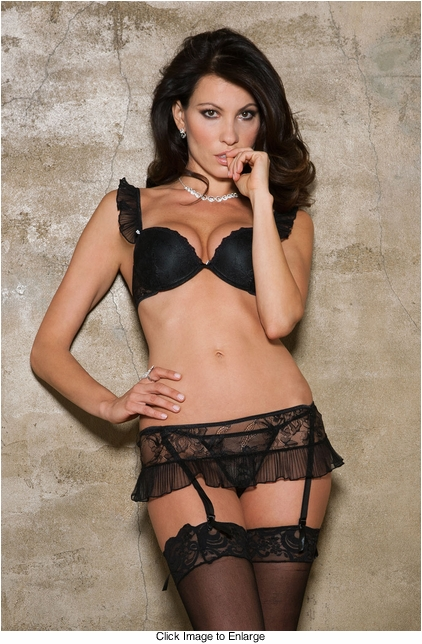 Butterfly Chiffon Bra, Garter Skirt and G-string