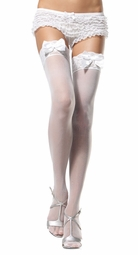 Cinderella Bride Sheer Stockings with Lace Top and Satin Bows