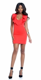 Coral Ruffle Halter Summer Dress