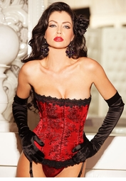 Classic Red Brocade Corset and Thong