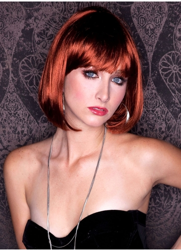 Cognac Auburn Bob Cindy Wig with Bangs