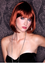 Cognac Auburn Bob Wig with Bangs
