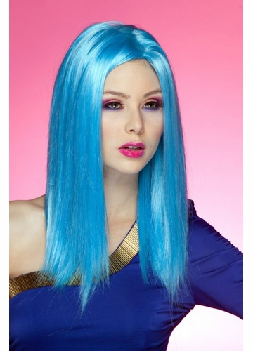 Cool Blue Straight Wig with Razored Edges