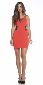 Coral V-Neck Dress with Mesh Details