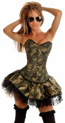3-Piece Corset Army Babe Costume