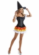 Corset Candy Corn Witch Costume with Skirt, Arm Puffs and Hat inset 1