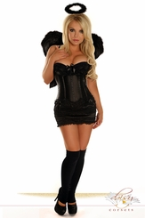 Corset Dark Angel Costume with Skirt, Halo and Feather Wings