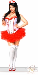 Corset Nurse Costume with Hat, Stethoscope, Pettiskirt and Thong