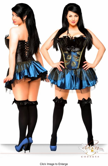 Corset Peacock Pin-Up Showgirl Costume with Skirt and Thong