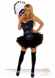 Corset Peacock Showgirl Costume with Mask and Skirt inset 1