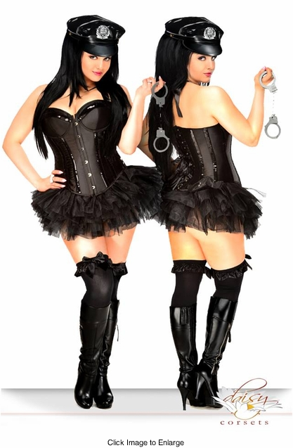 Corset Police Costume with Pettiskirt, Handcuffs, Hat, Badge and Thong