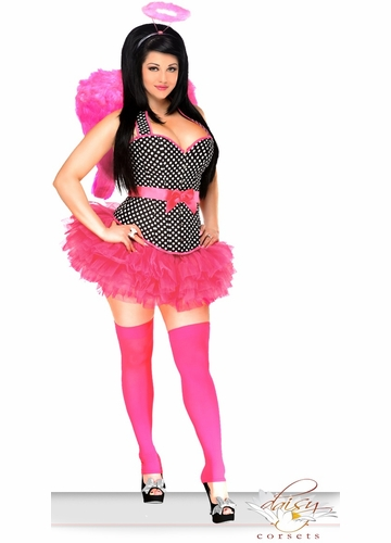 Corset Rockabilly Pin-Up Angel Costume with Feather Wings