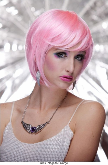 Cotton Candy Pink Razor Cut Bob Wig With Bangs