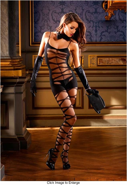 Criss Cross Front Bodystocking with Opaque Back