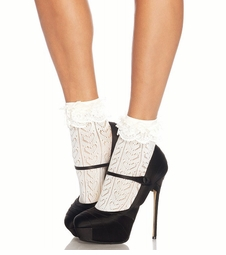 Crochet Hearts Ankle Socks with Lace Trim