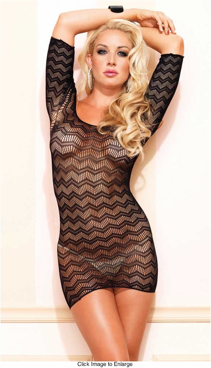 Crochet Net Mini Dress with Cutout Back