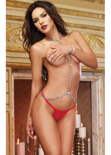 Crystal Choker Bellychain and Lace Thong