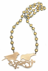 Crystal Jeweled Necklace with Victorian Style Sparrow Pendant