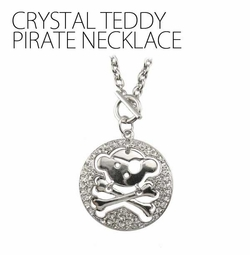 Crystal Teddy Pirate Necklace