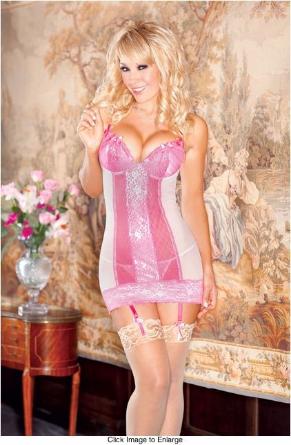 Cutie Pie Pink Lace Garter Dress and G-string