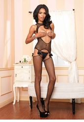 Cutout Garter Top with Attached Stockings