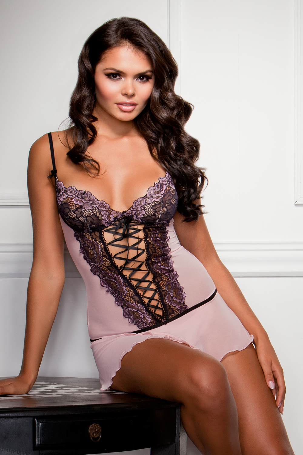 Dallas Pink Lace Mini Dress with G-string