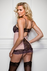DallasPeek-A-Boo Lace Garter Dress and G-string