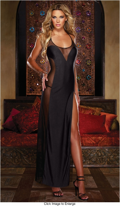 Dangerous Curves Long Gown and Thong