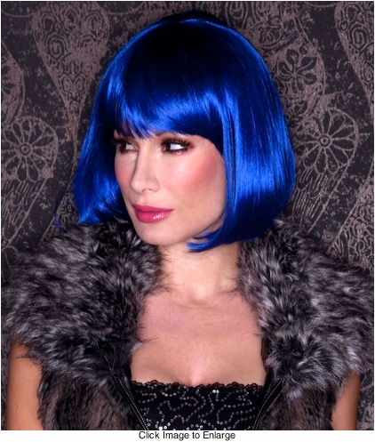 Regal Blue Bob Wig with Bangs Cindy
