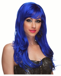 Dark Blue Long Curly Wig Burlesque