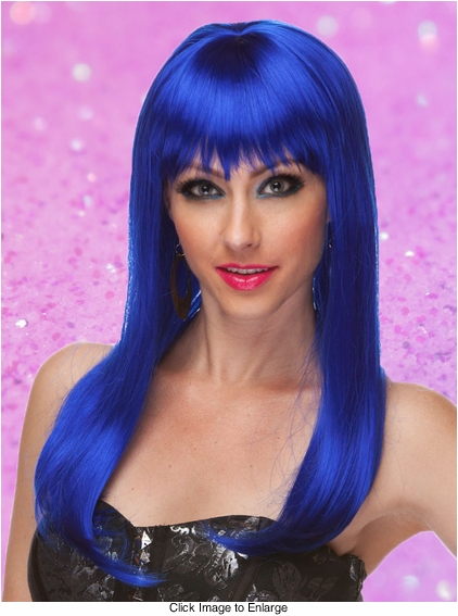 Dark Blue Long Straight Wig with Bangs Classy