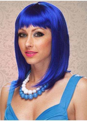 Dark Blue Tapered Bob Wig Doll