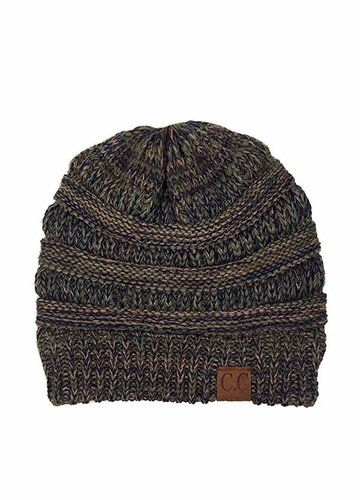 Olive Green Multi Knit CC Beanie Hat