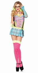 Day Glo Rave Schoolgirl Costume