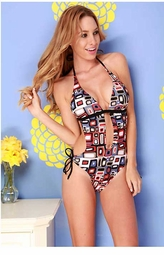 Deco Print Cutout Swimsuit